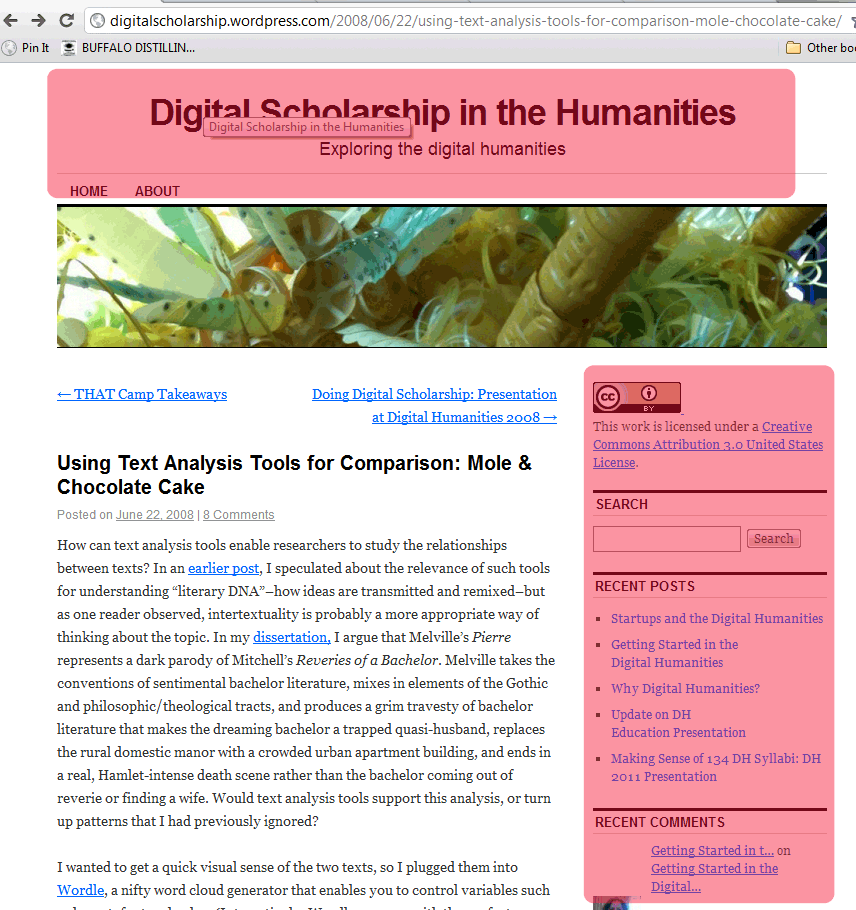 Example of a blog 1, redundant information highlighted