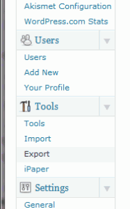 Wordpress, export blog