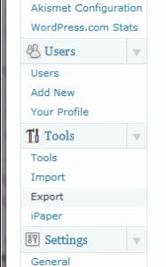 Wordpress, export blog